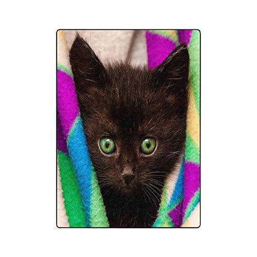 (INTERESTPRINT Lovely Black Cat Kitten with Green Eyes Soft Fleece Velvet Travel Blanket Throws for Couch Living Room Office for Kids Adult, 40 by 50 Inch)