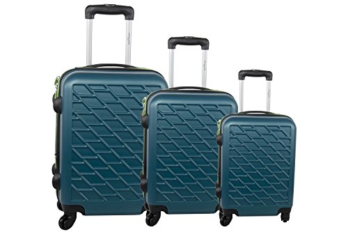 Set valigie trolley 3 pezzi rigido PIERRE CARDIN petrolio cabina da viaggio S288