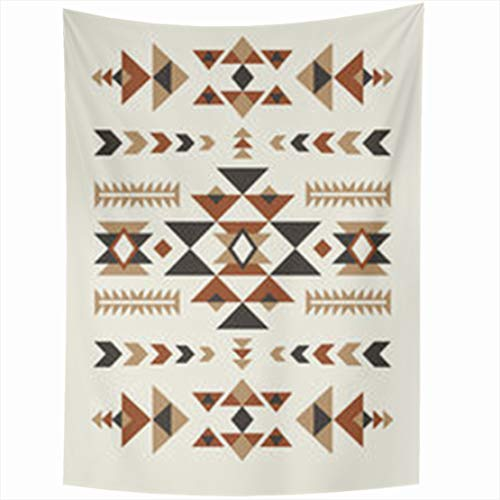 YeaSHARK Wall Hanging Tapestries 50 x 60 Inches Brown Navajo Ethnic Pattern Abstract Peruvian Tapestry for Home Bedroom Living Room Dorm