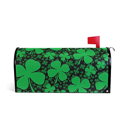 A Shamrock Field for St Patrick's Day Magnetic Mailbox Cover Home Garden Vinyl Mailbox Wrap for Mailboxes - 20.8x18 inches Standard Sized,Multicolor