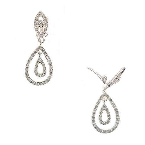 Silver Crystal Rhinestone Two Layer Teardrop Pear Shaped Dangle Clip Earrings Tipped with Eye Shape