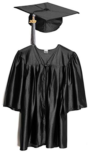 Small Black Shiny Child Graduation Cap, Gown, Tassel and 2019 Charm -