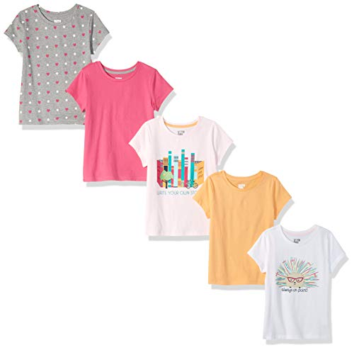 Spotted Zebra Little Girls' 5-Pack Short-Sleeve T-Shirts, Write your own story, Small (6-7)
