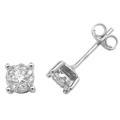 Boucles d'oreilles diamant brillant Element or blanc 9 carats H I1 20D 0,25 carats