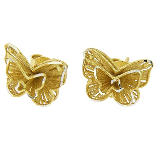(GlassOfVenice Butterfly Flower Sterling Silver Gold-Plated)
