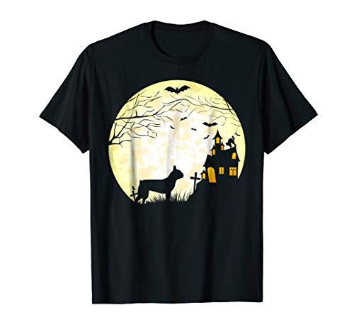 Boston Terrier Halloween Shirt Vintage Moon Bats Trees Tee -