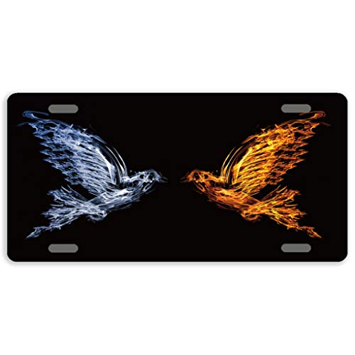 Eprocase Funny License Plate Ice Water Phoenix Metal License Plate Covers Decorative Automotive Tag Sign Novelty Car Tags 4 Holes, 12 x 6 Inches