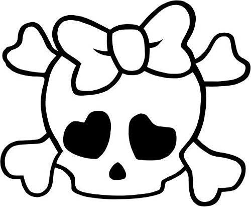 Cute Girly Crossbones Bow Tie Skull Vinyl Decal Sticker- 6