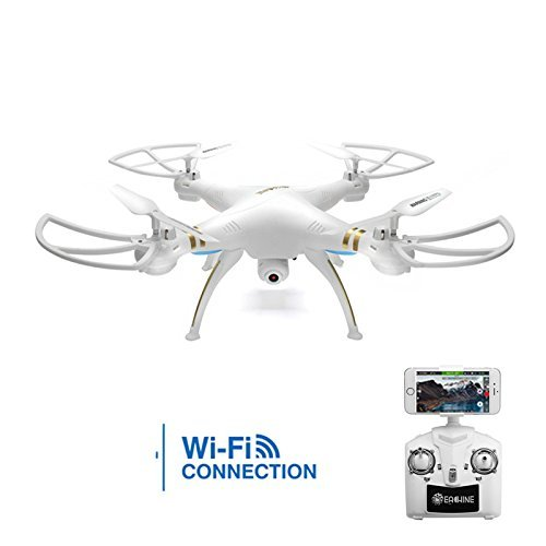 EACHINE E30W WIFI FPV Quadcopter Drone With 720p HD Camera 2.4G 4CH 6-Axis Headless Mode Remote Control Quadcopter RTF Mode 2 (White)