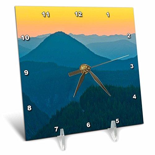 Washington State Desk Clock - 3dRose Danita Delimont - Mountains - Sunset, Rampart Range, Mount Rainier NP, Washington State, USA - 6x6 Desk Clock (dc_279745_1)