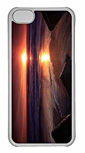 LJF phone case ipod touch 5 Case, Personalized Custom Stones On The Beach Sunset for ipod touch 5 PC Clear Case