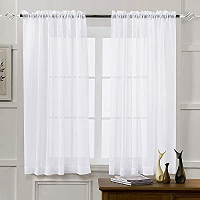 Amazon.com: Sheer Curtains White 63 Inch Length, Rod Pocket Voile