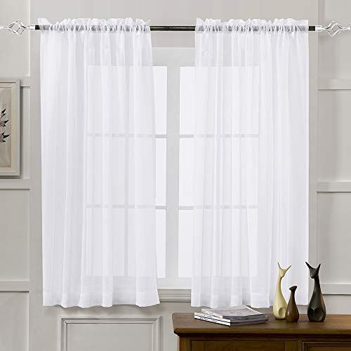 Sheer Curtains White 45 Inch Length, Rod Pocket Voile Drapes for Living Room, Bedroom, Window Treatments Semi Crinkle Curtain Panels for Yard, Patio, Villa, Parlor, Set of 2, 52