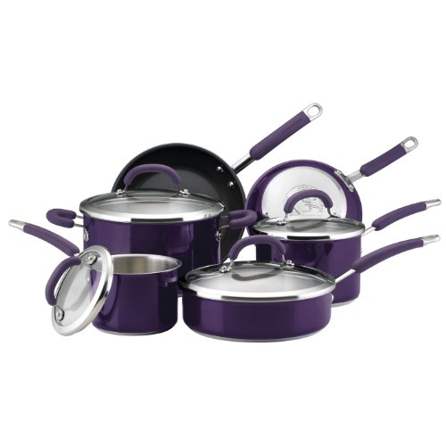 Rachael Ray Skillet Steel Stainless (Rachael Ray Stainless Steel II Colors Dishwasher Safe 10-Piece Cookware Set, Purple)