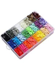 ACAMPTAR 408 Sets Plastic Snap Buttons, No-Sew T5 Snaps with Organizer Storage Case for Bibs Diapers Crafts