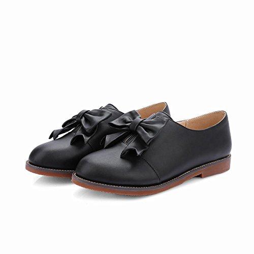 Carolbar Femmes Arcs Doux Mignon Adorable Mode Décontracté Confort Appartements Chaussures Noir