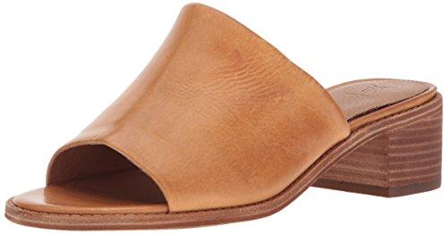 FRYE Women's Cindy Mule Heeled Sandal, Natural, 10 M US