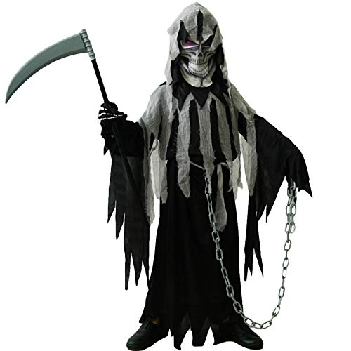 PGOND Boys Grim Reaper Horror Halloween Costume (7-9) Black -