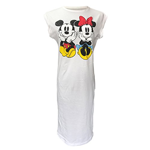 [Disney Womens Long Night Gown with Mickey and Minnie Mouse Pajamas Dress Gown (Small, Color 1)] (Mickey Dress)