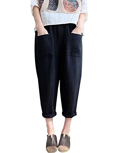 Jenkoon Women's Linen Cotton Elastic Waist Pants Casual Tapered Cropped Pants Trousers (Black, Medium)