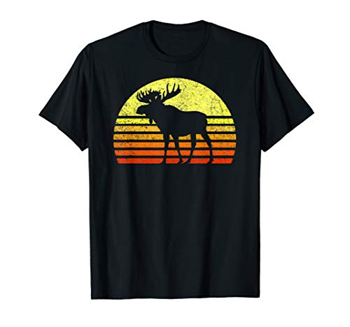 - Vintage Eighties Style Retro Sun Moose National Park Forest T-Shirt