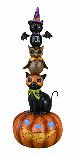 Pumpkins Stacked (Transpac Light up Halloween Stacked Animal Pumpkin)