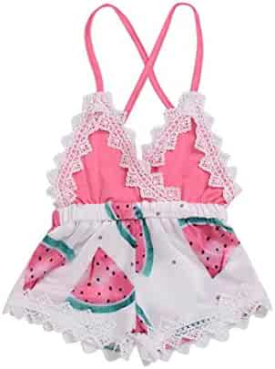 99ddbf6bce88 Goodlock Toddler Infant Fashion Romper Baby Girls Romper Watermelon Print  Lace Strap Jumpsuit Outfits Clothes