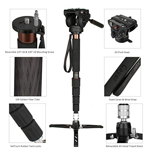Cayer CT35 Camera Monopod Kit 68 inch Carbon Fiber Telescopic Video Monopod Leg with H4 Fluid Head and SV5 Tripod Base for DSLR Video Camera Camcorders Plus 1 Extra Quick Release Plate