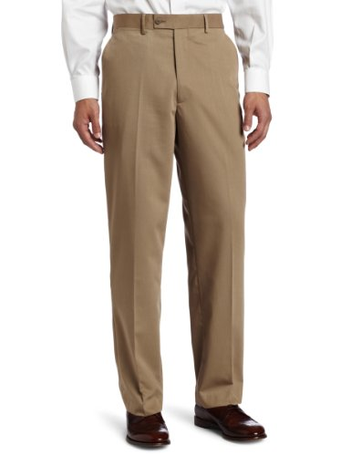 Louis Raphael Men's Poly Rayon Gabardine Flat Front Straight Fit Pant, Wheat, 34x29