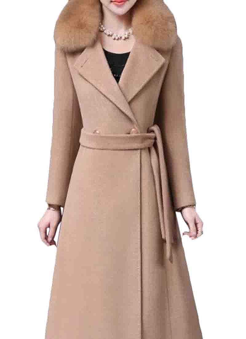 Camel XiaoTianXinWomen XTX Womens Belted Pure color WoolBlend Mid Long Lapel Pea Coat
