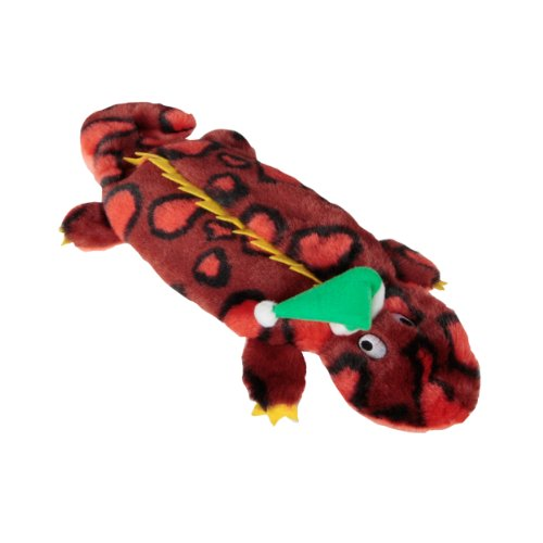 Kyjen Plush Puppies Invincibles Holiday Red Gecko with Hat, 4-Squeaks, My Pet Supplies