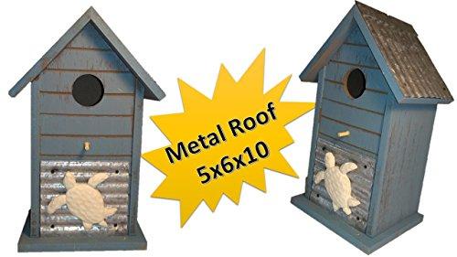 Wooden Birdhouses - Tin Roof Birdhouse - Cozy Coastal Birdhouses for Outdoors Hanging - Chickadee Birdhouse - Finch Birdhouse - Wren Birdhouse - Home Garden Decor - Nautical Sea ()