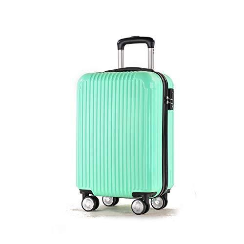 ABS + PCマテリアルスーツケース、スーツケーストローリーケースユニバーサルホイールロックボックス B07MMLJVX3 グリンー