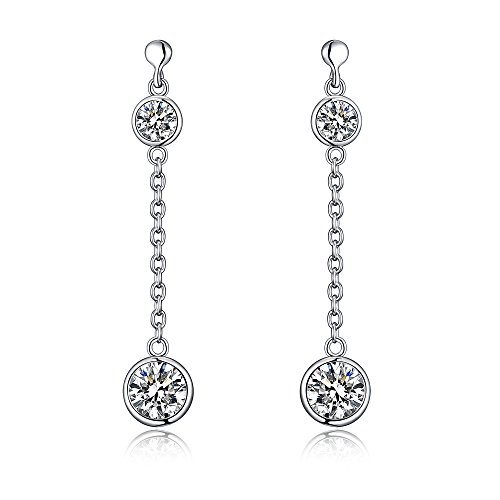 (Sterling Silver Dangle Drop Earrings With Simulated Diamonds And Comfort Fit Ear posts - New Arrival)