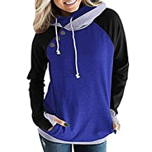 Sumen Women Hooded Sweatshirt Sweater Long Sleeve Tunic Cowl Neck with Button
