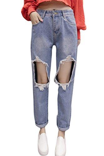 Zojuyozio Mujer Casual Pantalones Pantalones Vaqueros Slim Lápiz Roto Tobillo Plus Size Blue