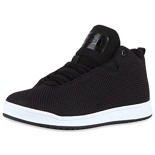 Paradis Des Bottes Unisexe Hommes Chaussures De Sport, Basket-ball Sur La Taille Flandell Noir Et Blanc