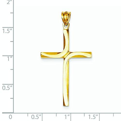 Or 14carats poli et satiné Pendentif Croix-Dimensions 24x 45.3mm