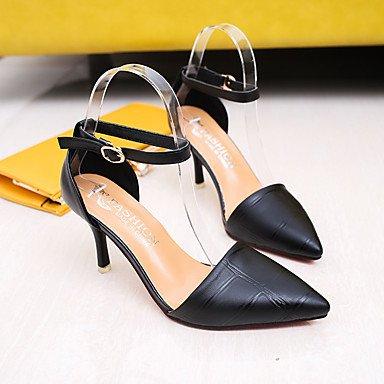 pwne Club De Mujeres Sandalias Zapatos Casuales Vestidos Primavera Verano Pu Hebilla Conjunta Dividida Stiletto Talón Rojo Amarillo Negro 3A-3 3/4 Pulg. US5.5 / EU36 / UK3.5 / CN35