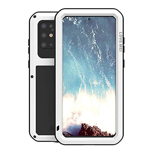 Galaxy S20 Plus Case,Bpowe Fully Body Protection Gorilla Glass Aluminum Alloy Protective Metal Resistant Shockproof Military Bumper Heavy Duty Cover Case for Samsung Galaxy S20+/S20 Plus 5G (White)