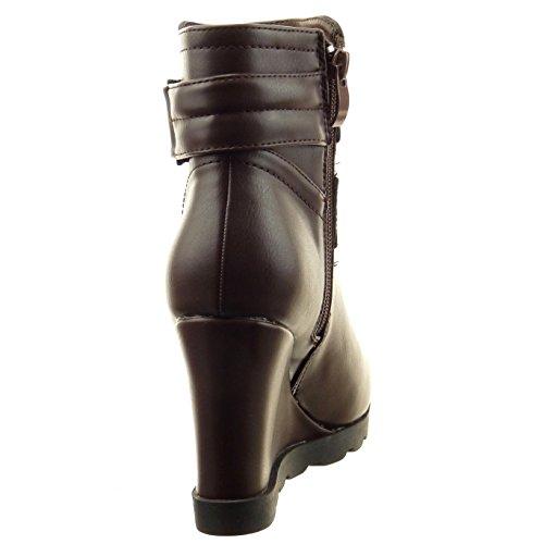 Sopily - damen Mode Schuhe Stiefeletten Biker Schleife - Braun