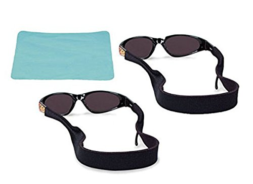 VIEEL Neoprene Sunglasses Strap & Sunglasses Holder | Anti-Slip and Fast Drying Active Sport Glasses Strap | Eyewear Retainer for Men Women Boys Girls 2pc Bundle + Cloth - Sunglasses Fast