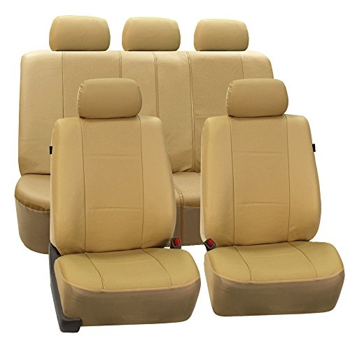 FH Group Universal Fit Full Set Deluxe Seat Cover - Leatherette (Beige) Airbag compatible and Rear Split, Fit Most Car, Truck, Suv, or Van, FH-PU007115) by FH Group