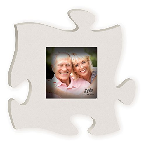 P. GRAHAM DUNN Matte White 12 x 12 Wood Puzzle Photo Frame Wall Plaque
