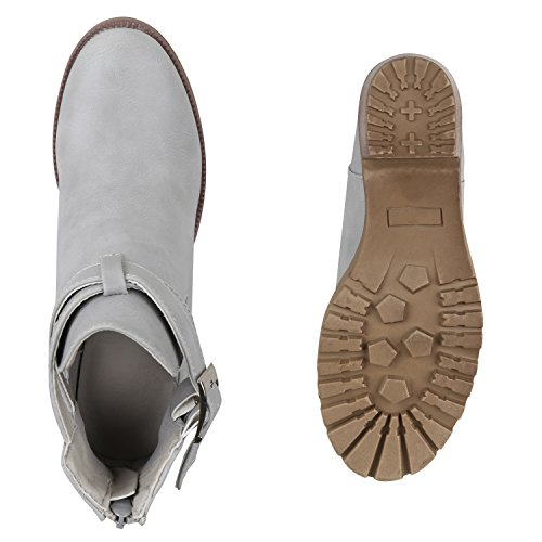 Stiefelparadies Damen Stiefel Plateau Boots mit Blockabsatz Cut-Outs Schnallen Flandell Grau