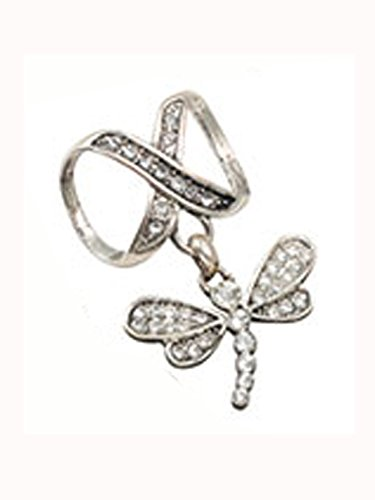 Rhinestone Studded Dragonfly Scarf Pendant - Scarf Accessory