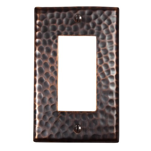 The Copper Factory CF121AN Solid Hammered Copper Single GFCI Plate, Antique Copper Finish by The Copper Factory