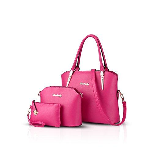 NICOLE&DORIS Handtaschen Damen 3 Stück Handtasche für Damen Totes Taschen Schultertaschen Umhängetaschen Rose