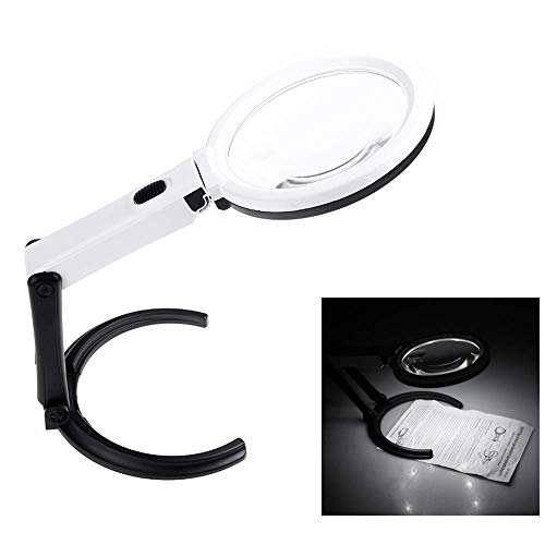 Portable 10 LED Light Magnifier Magnifying Glass with Light Lens Table Desk-Type Lamp Handheld Foldable Loupe 2 x 120mm 5X 28mm by Sun Vale