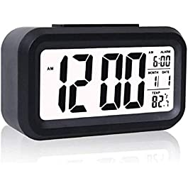 Case Plus Digital Smart Backlight Battery Operated Alarm Table Clock with Automatic Sensor, Date & Temperature (Black…